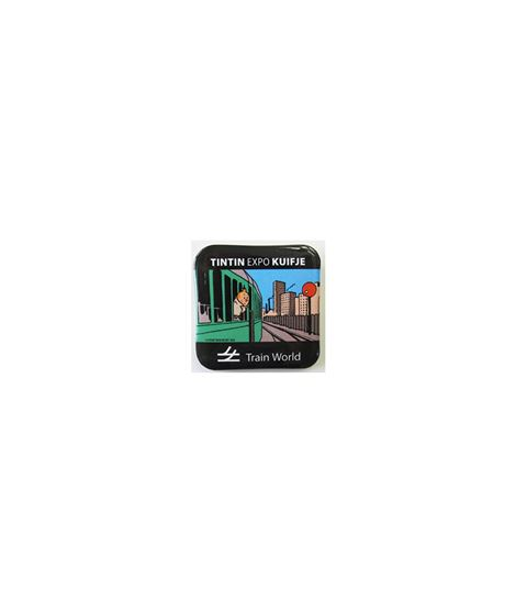 CHAPA METALICA 40mm.EXPO TRENES - badges-tintin-a-train-world-40-x-40-mm