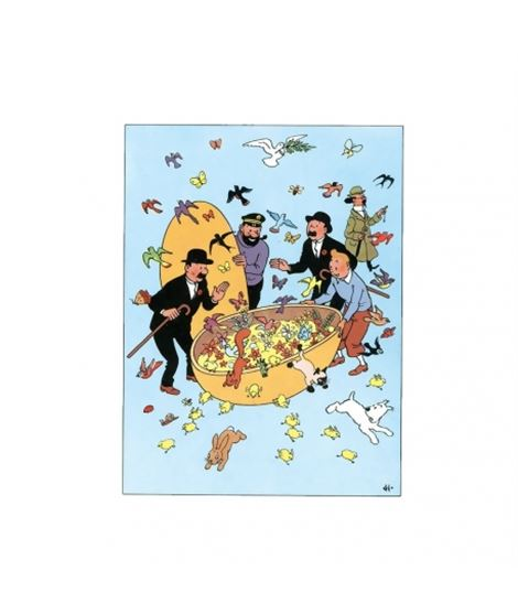 POSTAL DOBLE FELICES PASCUAS - easter-double-postcard-tintin-with-his-friends-32051-175x125cm