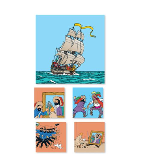 SET DE 5 CANVAS ENMARCADO EN MADERA - SECRETO... - canvas-tintin-secreto-unicornio-haddock1
