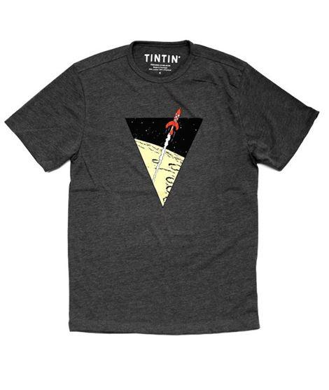 CAMISETA TRIANGULO COHETE GRIS OSCURO -12A - camiseta-shirt-tintin-cohete-rocket-fusee_1