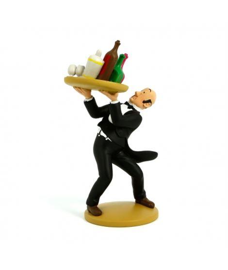 FIGURA TF1 RESINA - NESTOR BANDEJA - figurine-de-collection-tintin-le-majordome-nestor-15cm-moulinsart-42155-2014