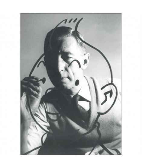 POSTAL HERGÉ - TINTÍN TRAZOS 1960 - postal-retrato-de-herge-robert-kayaert-dibujando-a-tintin-1960-10x15cm